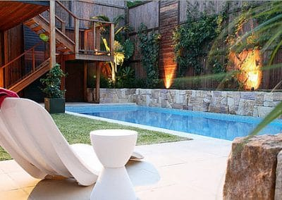 Retaining wall and deck around pool -